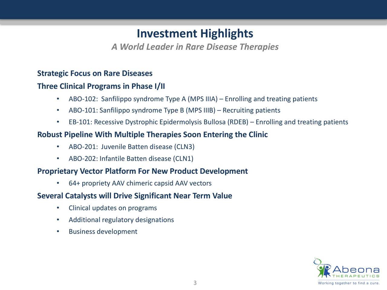 A World Leader in Rare Disease Therapies Strategic Focus on Rare Diseases Three Clinical Programs in Phase I/II ABO-102: Sanfilipposyndrome Type A (MPS IIIA) Enrolling and treating patients ABO-101: Sanfilipposyndrome Type B (MPS IIIB) Recruiting patients EB-101: Recessive Dystrophic Epidermolysis Bullosa (RDEB)  Enrolling and treating patients Robust Pipeline With Multiple Therapies Soon Entering the Clinic ABO-201: Juvenile Batten disease (CLN3) ABO-202: Infantile Batten disease (CLN1) Proprietary Vector Platform For New Product Development 64+ propriety AAV chimeric capsid AAV vectors Several Catalysts will Drive Significant Near Term Value Clinical updates on programs Additional regulatory designations Business development 3